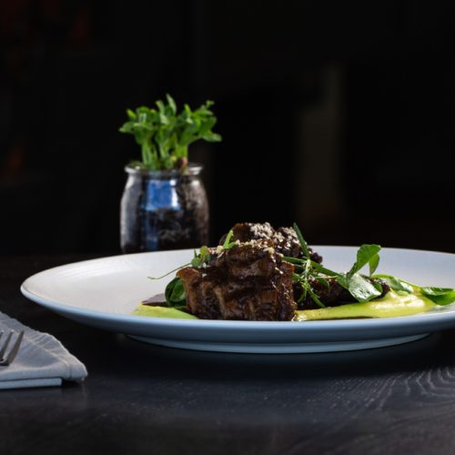 Braised oxtail and beef cheek with parsnip puree